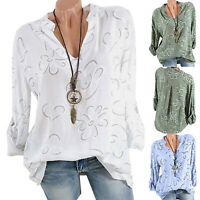 Women's Casual Ladies Summer Beach Floral Long Sleeve T-Shirt Tops V-Neck Blouse