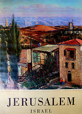 1960 Israel JERUSALEM ADVERTISING POSTER Hebrew OFFICIAL TOURIST Painting JEWISH