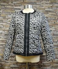Junge Ladies Reversible Down Filled Black and White Floral Design Jacket Size 12