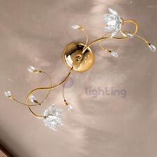 Plafoniera soffitto lampadario design moderno ottone oro fiori cristallo salone