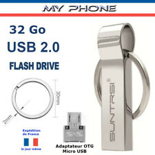 Clé USB 32 GO Métal 2.0 + adaptateur Micro USB OTG - Clef Formatée 29 GO / GB