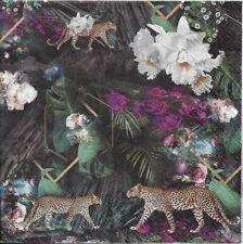 Lot de 4 Serviettes en papier Forêt Léopard Decoupage Collage Decopatch