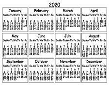 PLAIN YEARLY OFFICE KITCHEN FRIDGE 2020 CALENDAR MAGNET