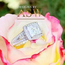 Moissanite Diamond Engagement Ring Band 3.00 14k White Gold Princess Forever One
