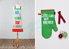 All I Want For Christmas Adult Apron & Oven Mitt Kitchen 2 pc Set by Ladelle NEW