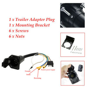 Trailer Plug 4-Way Flat to 7 Way Round Blade Wiring Adapter W/ Mounting Bracket