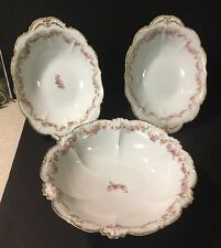 3 CH Field HAVILAND LIMOGES Pink FLORAL Gda France Bowls Oval & Round Footed