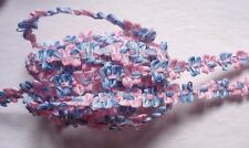 French Rococo Ombre Ribbon, 7/16 inch White - Pink - Blue selling by the yard