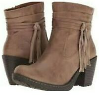 BORN BOC Alicudi BOOTS Ankle Booties Womens Heeled Fringe Gray Taupe Suede 10M