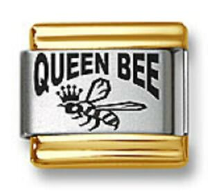 Italian Charm Bracelet Links Laser Queen Bee Gold Trim 9mm Stainless Steel