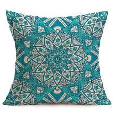 Cushion Cover Bohemian Ethnic Turquoise Blue Flower Pillow Case 43cm 17""