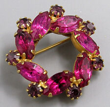 Vintage Jewelry Pink Purple Crystal Prong Set Ring BROOCH PIN Rhinestone Lot T