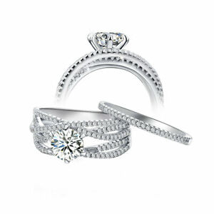 Bridal 925 Sterling Silver Round Cut White Cz Engagement Wedding Ring Set Sz 5