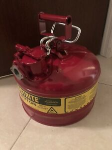 Steel Jerry Gas Can Safety Red 2.5 Gallon Metal Gasoline Diesel Flexible Type II