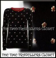 Kate Moss Topshop Black Orange Floral Jacquard Medium Knitted Jumper UK 12 14