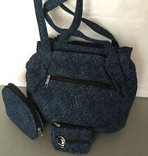 New Gold coast ladies denim shoulder bag handbag with matching wallets