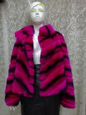 Women's Fur 100% Real Genuine Chinchilla Rex Rabbit Fur Coat Winter Jacket -J944