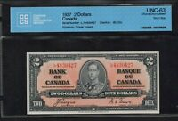 ➡ BC-22c 1937 Bank of Canada $2 LR L/R Short Prefix Run CHOICE UNC 63 RARE CCCS