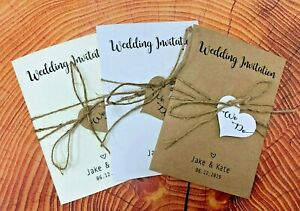 10X Personalised Vintage Wedding Invitations Day Evening Save the Date FL1a