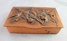 Art Deco Copper Box Signed Gilles Repousse Humidor Cigarette Decorative