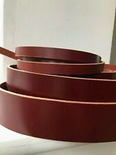100cm long Red Brown Veg Tan Grain Leather Strap Belt Blank Strip 4-5mm thick