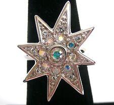 Signed Christian Dior Ring w/ Aurora Borealis Swarovski Crystal size 5 New