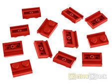 12x LEGO ® 32028 1x2 plaque avec cadres Rail Rouge Red NEUF