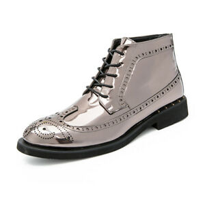 Mens Casual Shiny Leather Pointed Toe Shoes Brogue Carved Lace Up Ankle Boots