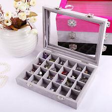 24 Slots Velvet Glass Top Jewelry Holder Organizer Box Earring Storage Case Gray