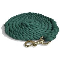 Intrepid International NEW Cotton Lead Rope 10' with Brass Snap Braided Ends