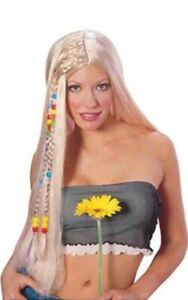 RUBIE'S LONG HAIR WIG WITH BEADED BRAIDS - HIPPIE 60's 70's - 50816