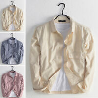 Mens Long Sleeve Solid Linen Casual Shirts Loose Fit Formal Dress Top Tee Shirts
