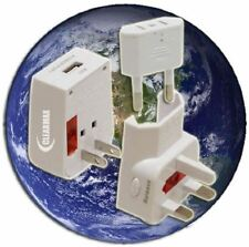 Universal World Wide Travel Charger Adapter Plug with Built-in Usb Charger White