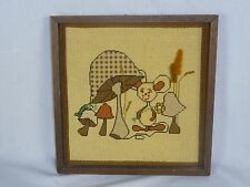 Vtg Needlepoint of Mushrooms and Mouse - Framed - Kitschy Fun!
