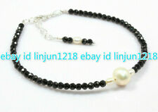 """Natural 4mm Faceted Black Spinel &White Pearl Gems Round Beads Bracelet 7.5"""" AAA"""