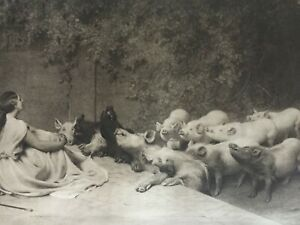 ANTIQUE PRINT 1901 CIRCE BY BRITON RIVIERE LADY AND PIGS FAMOUS PAINTING ART