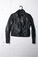 Asos Womens Real Leather Biker Jacket - Black - Size 8 - See Desc - (L-U9)