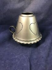 PRIMITIVE 2 Pc Metal Cut Candle Shade HEART Punched Tin and Holder