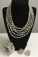 Vendome Aurora Borealis Graduated 5 Strand Necklace Bracelet Earrings 3 Pc Lot