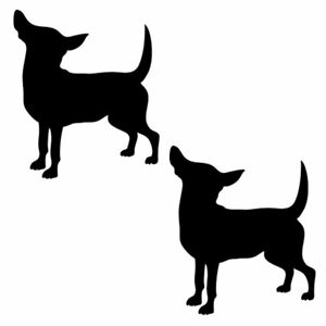 Qty 2 Dog Chihauhau Silhouette Wall Sticker Decal Pack I Any Colour