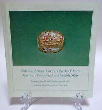 June 1977 Sotheby Parke Bernet Auction Catalog Watches Antique Jewelry Silver