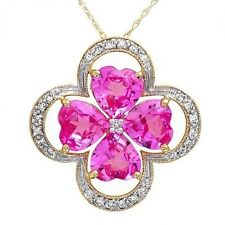 Pink Topaz Diamond Necklace Gold SOLID 10k Two Tone 5.25 ctw Brand New ttg