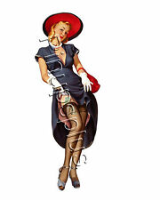 Vintage 50s style Pinup Girl Waterslide Decal Sticker for guitars & more S376