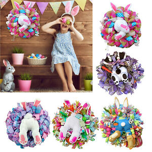 Easter Bunny Wreath Spring Garland Ribbon Front Door Wall Art Hanging Decor