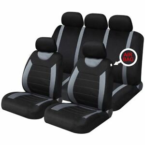Grey Black Full Set Front & Rear Car Seat Covers for Seat Alhambra All Models