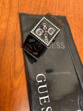 Guess G Link Swarovski Crystal Black Silver Women's Watch Bracelet w/pouch WoW!!