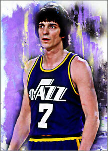 2021 Pete Maravich Utah Jazz Basketball 5/25 Art ACEO Print Card By:Q