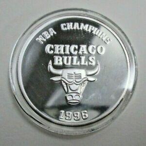 CHICAGO BULLS 1996 NBA Champions LE Coin .999 Silver With COA Michael Jordan