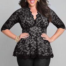 Women V-neck Plus Size Tops Loose Short Sleeve T-Shirt Casual Blouse Fashion