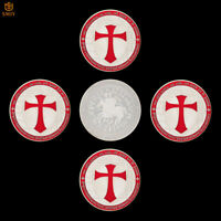 5Pcs Red Crusader Templar Shield Silver Plated Token Challenge Coin Collection